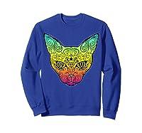 Techno Trance Edm Club Day Of The Dead Cat Sugar Skull Shirts Sweatshirt Royal Blue