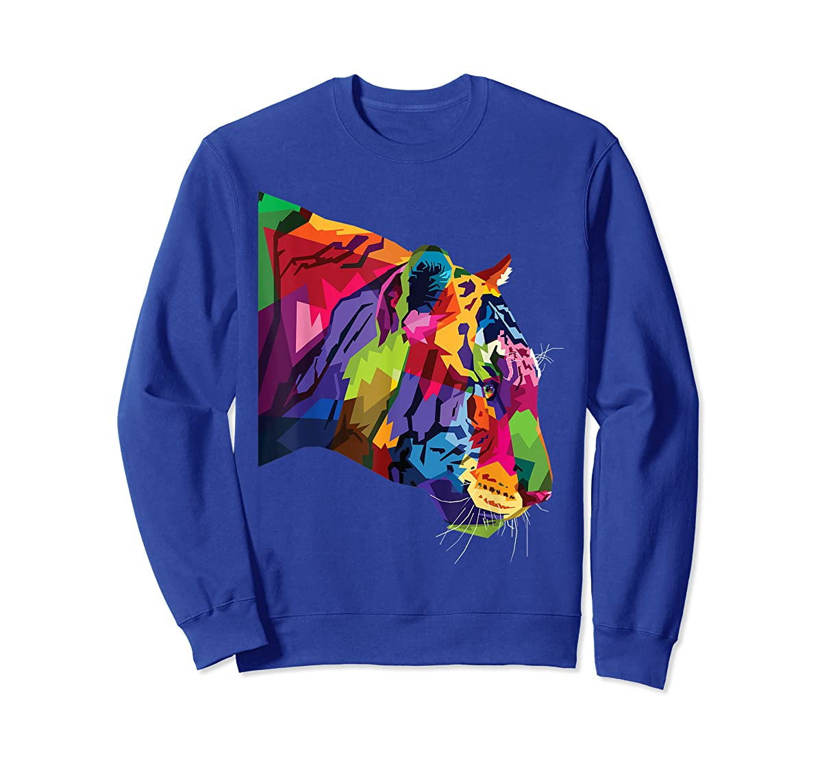 Tiger Shirt : Colorful Tiger's head Pop Art Style T-Shirt-Sweatshirt-Royal