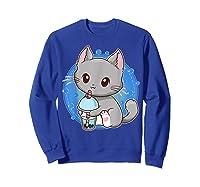 Kawaii Japanese Anime Cat Bubble Tea - Neko Kitty T-shirt Sweatshirt Royal Blue