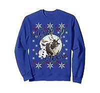 Frozen Olaf Sven Warm Wishes Ugly Sweater Shirts Sweatshirt Royal Blue