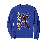 Marvel Avengers Assemble Iron Man Tech Graphic T-shirt Sweatshirt Royal Blue