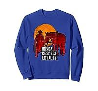 Red Horse Sunset T Shirt Honor Respect Loyalty Cowboy Sweatshirt Royal Blue
