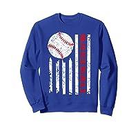 American Flag Baseball | July 4th Usa Flag Patriotic Design T-shirt Sweatshirt Royal Blue