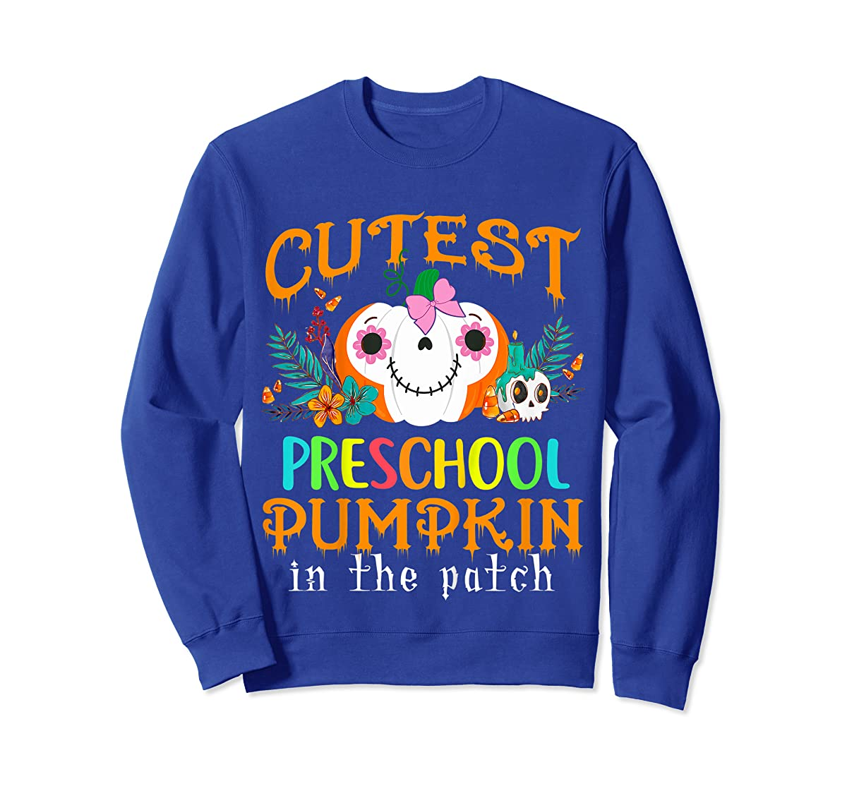 Kids Cutest Preschool Pumpkin In The Patch Halloween Costume Girl T-Shirt-Sweatshirt-Royal