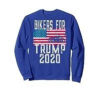 (print On Back) Bikers For Trump T-shirt Motorcycle Rally Sweatshirt Royal Blue