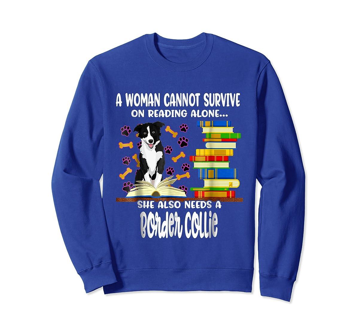 A Woman Reading Book Dog Border Collie Shirt-Sweatshirt-Royal