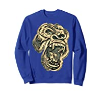 Angry Great Ape Art T-shirt Fierce Silverback Gorilla Face Sweatshirt Royal Blue