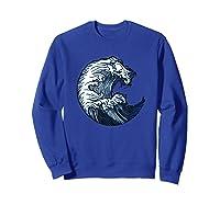 Japanese Art Gift Ocean Wave Line Work Design Shirts Sweatshirt Royal Blue