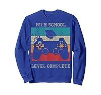 High School Graduation Shirt Level Complete Video Gamer Gift Sweatshirt Royal Blue