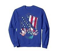 Vintage Bowling T Shirt American Usa Flag Bowling T-shirt Sweatshirt Royal Blue