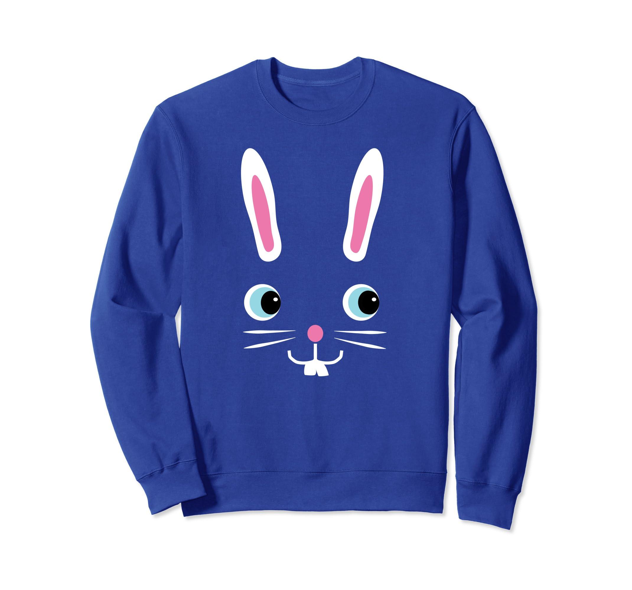 81db23dedf Amazon.com: Easter Bunny Sweatshirt Cute Trendy Bunny Face Shirts: Clothing