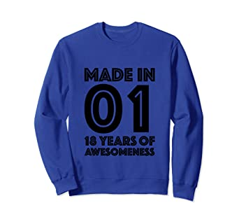 Image Unavailable Not Available For Color 18th Birthday Sweatshirt Boy Eighteen Gift 18 Year Old Girl
