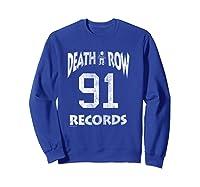 Death Row Records Athletic 91 Distressed T-shirt Sweatshirt Royal Blue