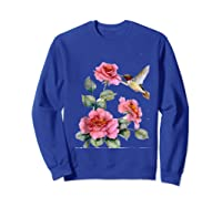 Hummingbird With Roses T For Shirts Sweatshirt Royal Blue