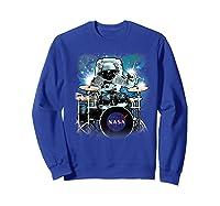 Nasa Space Drum Playing Astronaut Premium Graphic T-shirt Sweatshirt Royal Blue