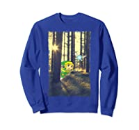 Nintendo Zelda Link And Navi Photo Real Forest Scene Shirts Sweatshirt Royal Blue