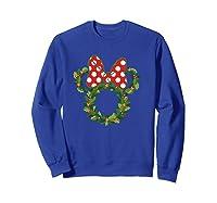 Disney Minnie Wreath T Shirt Sweatshirt Royal Blue