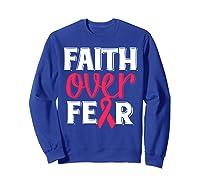 Faith Over R Breast Cancer Awareness Gift Shirts Sweatshirt Royal Blue