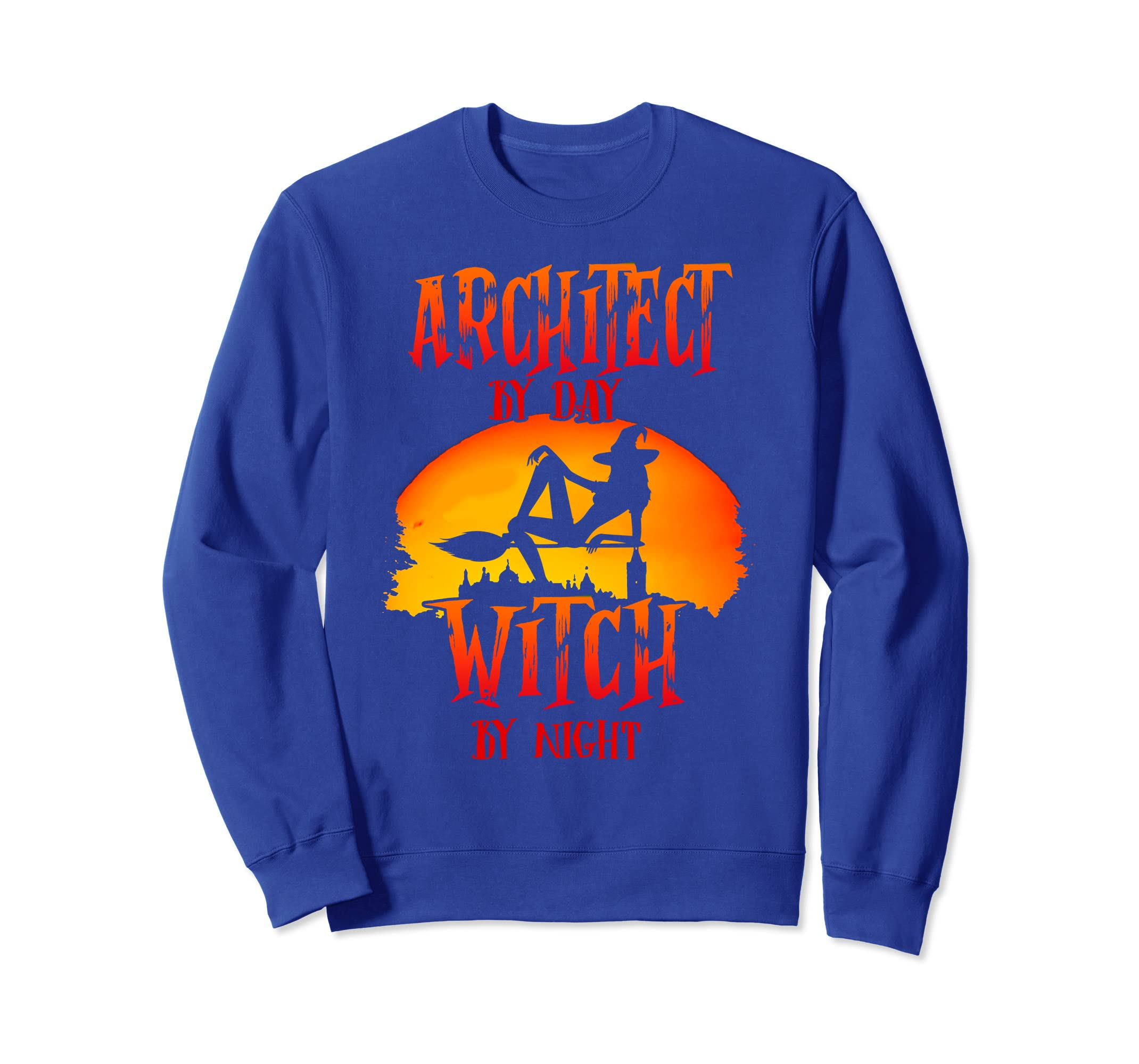 Architect By Day - Witch By Night Funny Halloween Sweatshirt-Rose