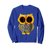 Owl Sunflower Shirt Funny Owl Lovers Shirt Sweatshirt Royal Blue