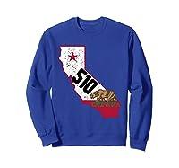 Oakland Area Code 510 California Distressed Gift Shirts Sweatshirt Royal Blue
