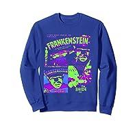 Frankenstein Colorful Collage Vintage Horror Movie Shirts Sweatshirt Royal Blue