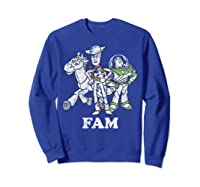 Disney Pixar Toy Story Woody Buzz Bullseye Fam Shirts Sweatshirt Royal Blue