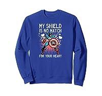 Marvel Captain America Shield Heart Valentine Shirts Sweatshirt Royal Blue
