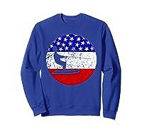 American Flag Waterskiing Vintage Retro Waterskiier Shirts Sweatshirt Royal Blue