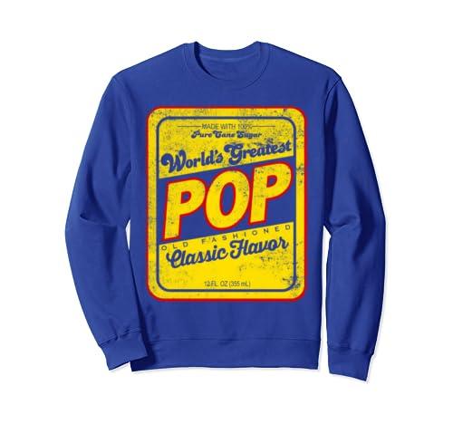 """World's Greatest Pop"" Retro Style Distressed Dad Sweatshirt"