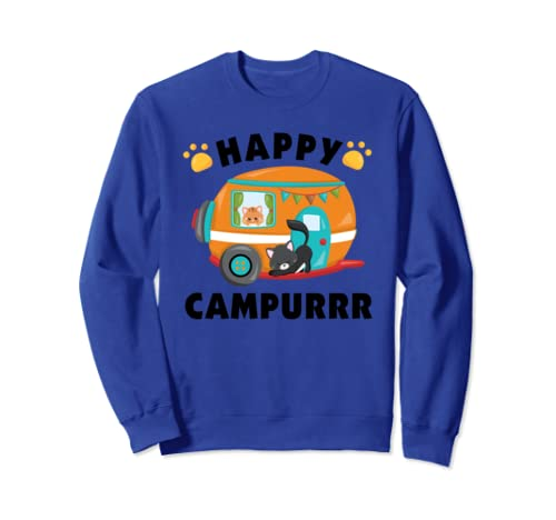 Funny Camping With Cats Kitty Fisherman Camper Gift Sweatshirt