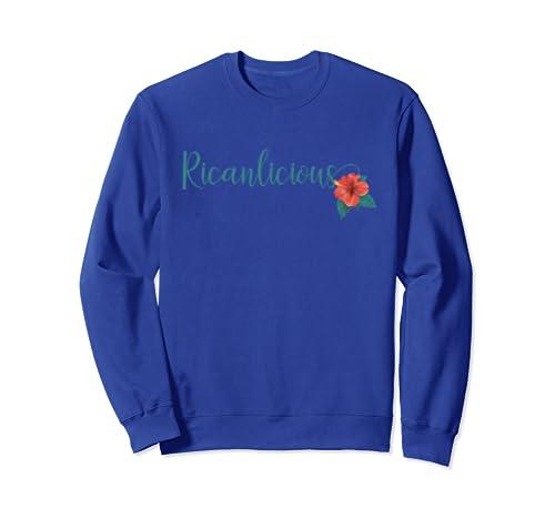 Amazon.com: Cute Puerto Rican Ricanlicious Hibiscus Flower Sweatshirt: Clothing