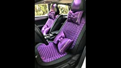 seemehappy Bling Retro Fashion Lattice Silk and Leather Car Seat Covers Front and Rear Seat Covers Universal Fit Purple-Luxury