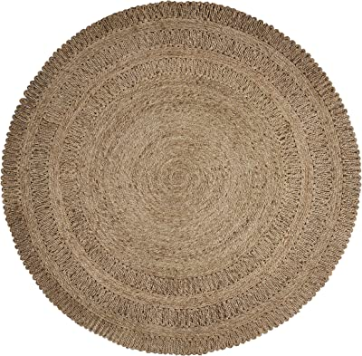LR Resources Natural Jute LR12034-GRY40RD Gray Round X 4 ft Indoor Area Rug, 4' x 4'