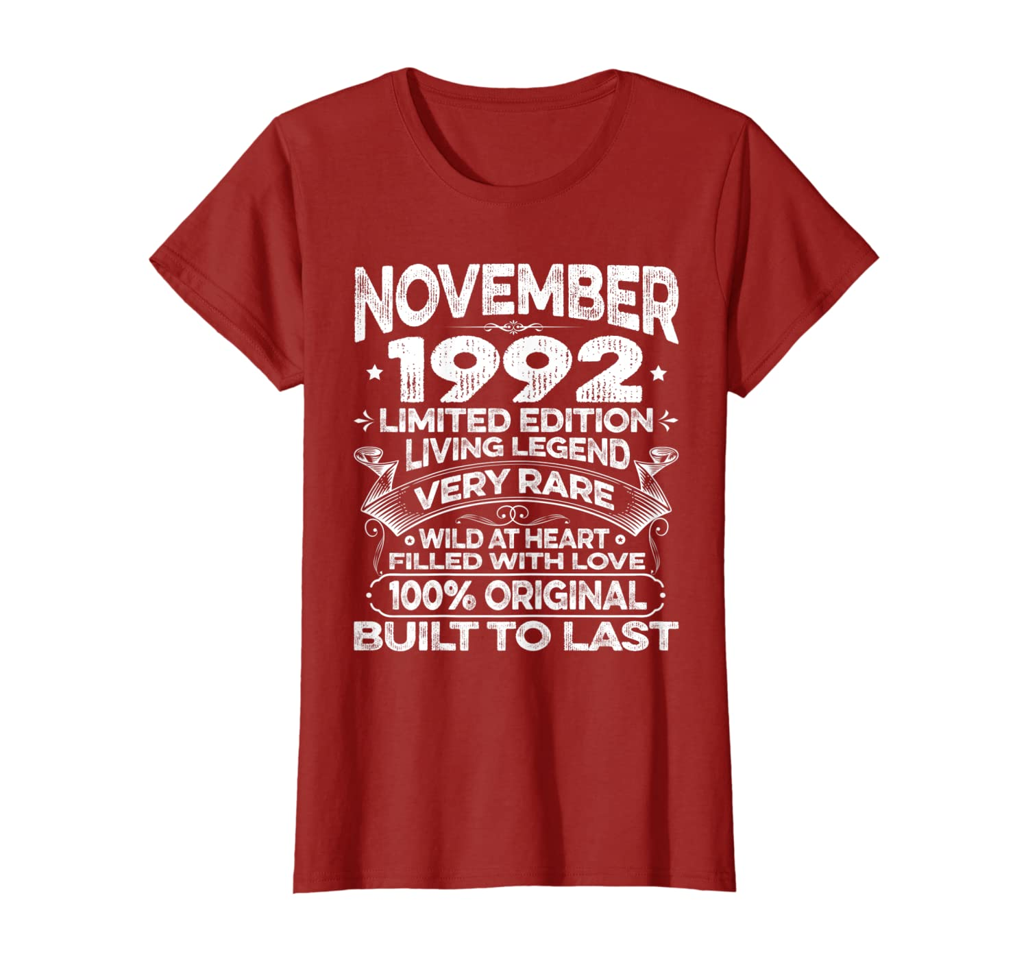 27th Birthday Gifts Vintage Born In November 1992 27 Yrs Old T-Shirt