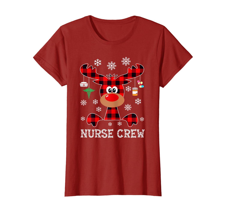Funny Cute Reindeer Buffalo Plaid nurse Crew christmas gift T-Shirt
