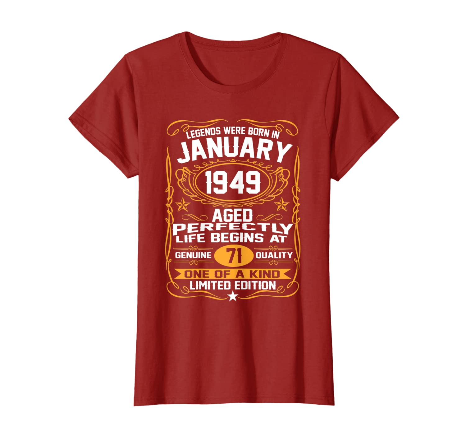 January 1949 71st Birthday Gift 71 Year Old For Men Women T-Shirt-Colonhue