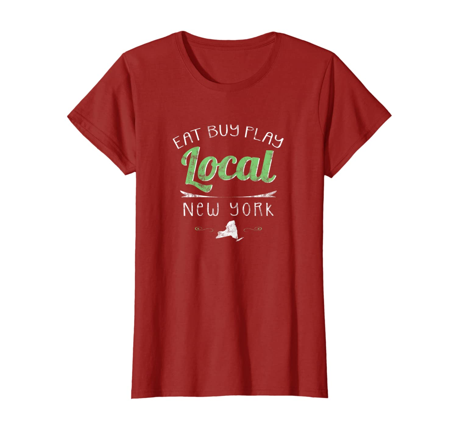 2a193f1a33a66 Amazon.com: Eat Buy Play Local New York Distressed NY T-Shirt: Clothing