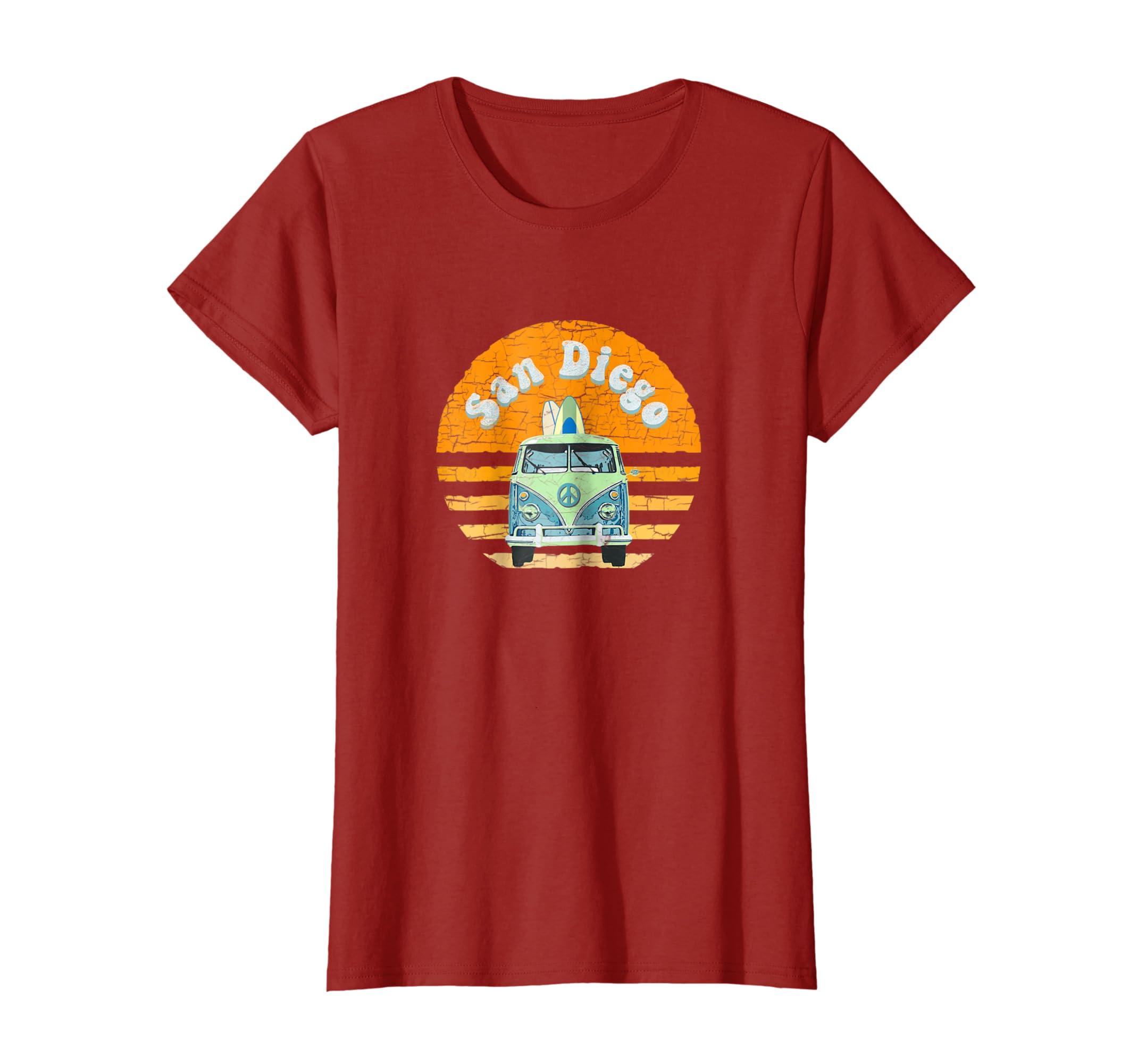 618bb170e36e12 Amazon.com  Vintage San Diego Hippie Van Beach Surfer T-Shirt  Clothing