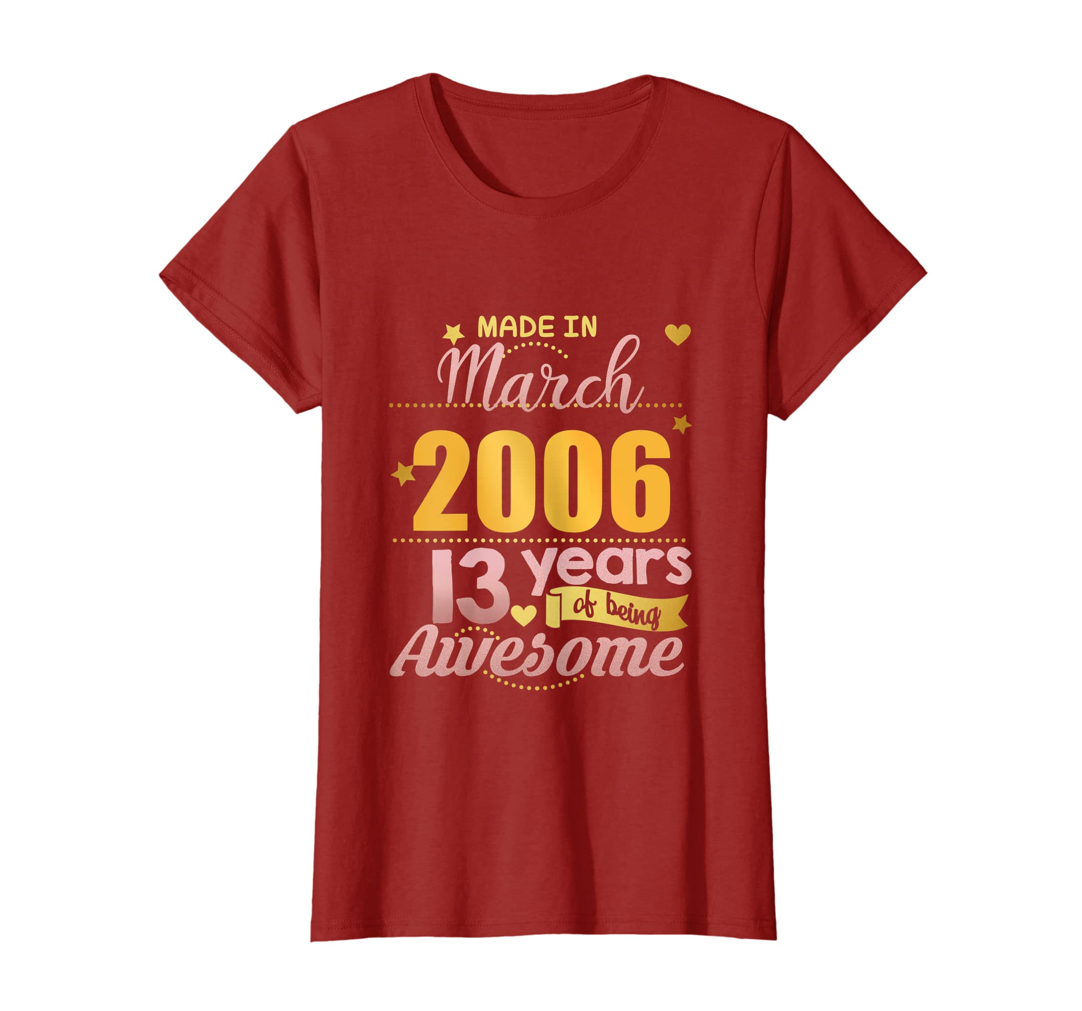 Amazon 13th Birthday Shirt Girls March 13 Year Old Daughter Gifts Clothing
