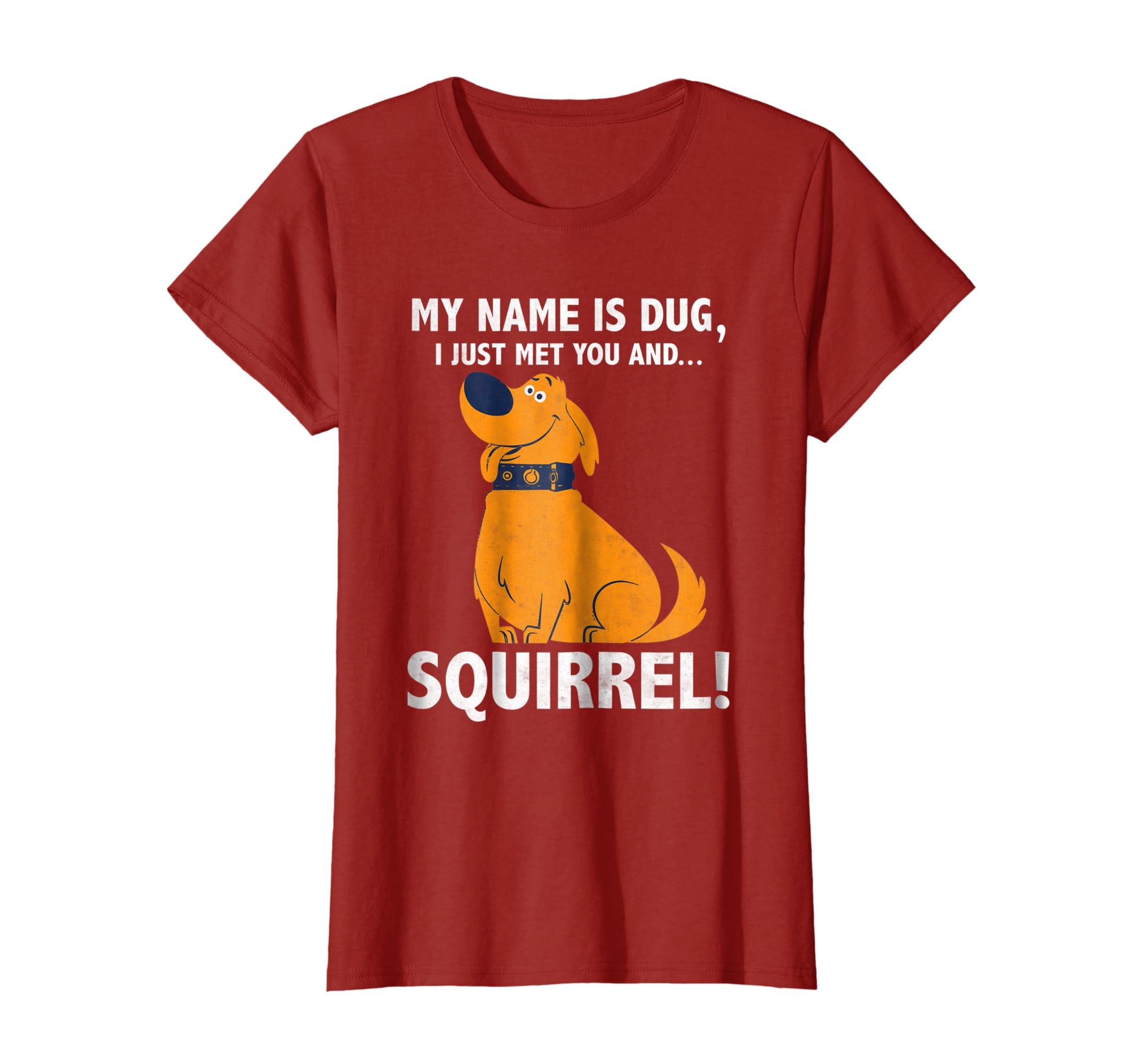 1b9919cb Amazon.com: Disney Up My Name is Dug Squirrel Graphic T-Shirt: Clothing
