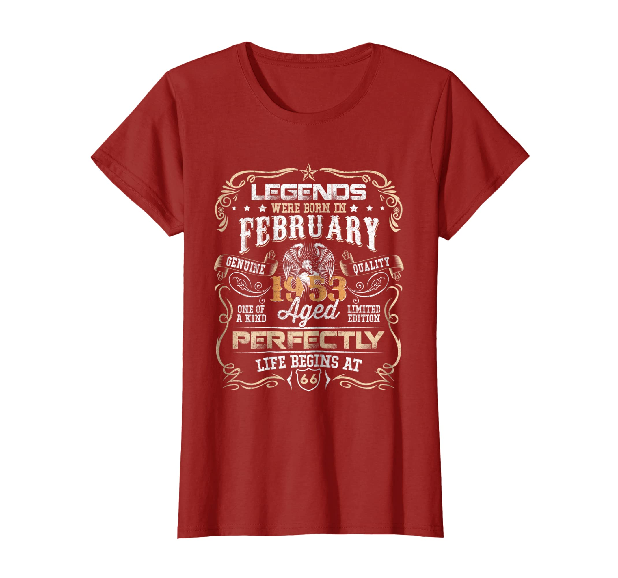 31a0cc1a3 Amazon.com: Legends Born in February 1953 66th Awesome Birthday T-Shirt:  Clothing