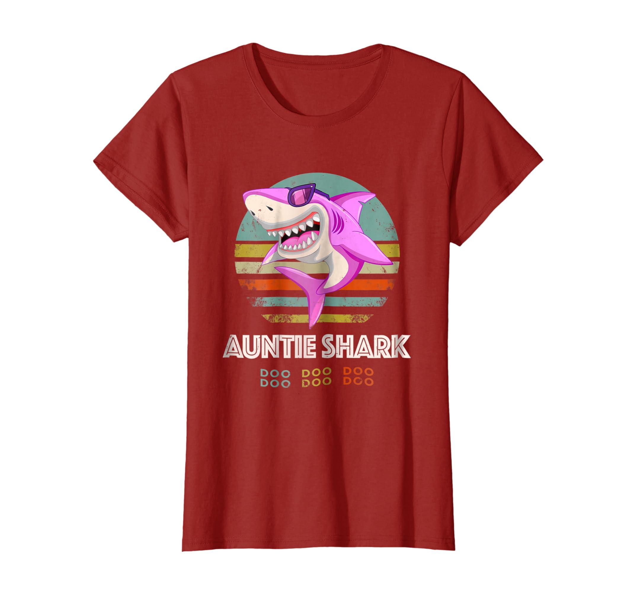 Retro Vintage Auntie Shark Tshirt Birthday Gift Costume Teechatpro