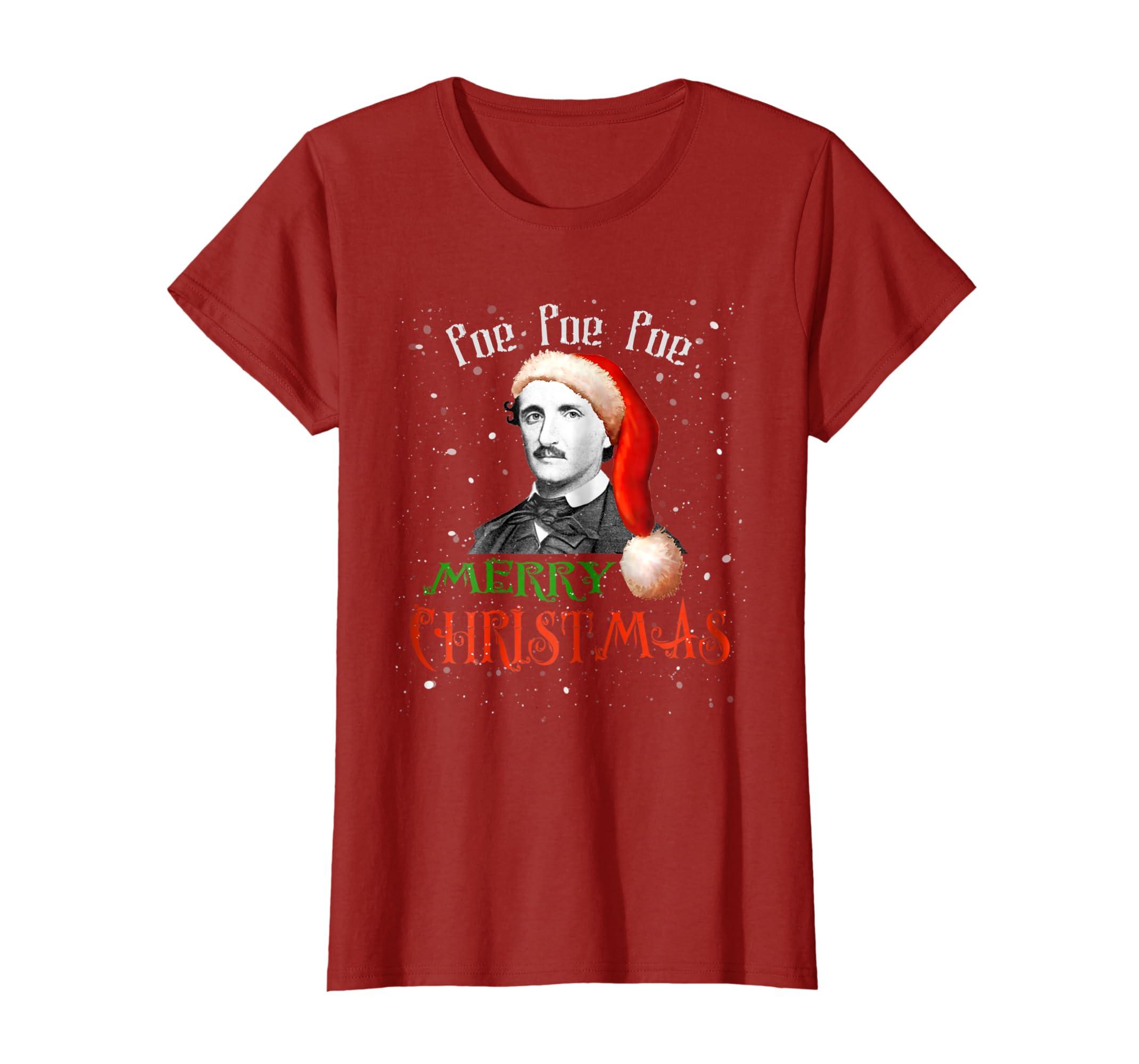 9d04fee8 Amazon.com: Funny Santa Hat Edgar Allan Poe Shirt - Poe Christmas TShirt:  Clothing