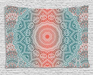 teal and coral tapestry