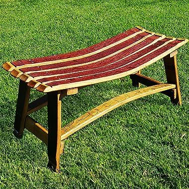Central Coast Creations Wine Barrel Stave Small Garden Bench W/O Backrest - Wine Barrel Handcrafted Wine Barrel Furniture