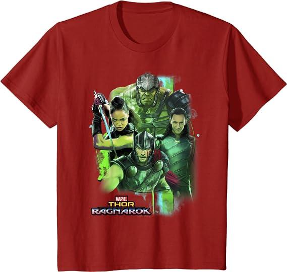 Marvel Thor Ragnarok Loki Hulk Valkyrie Team Camiseta: Amazon ...