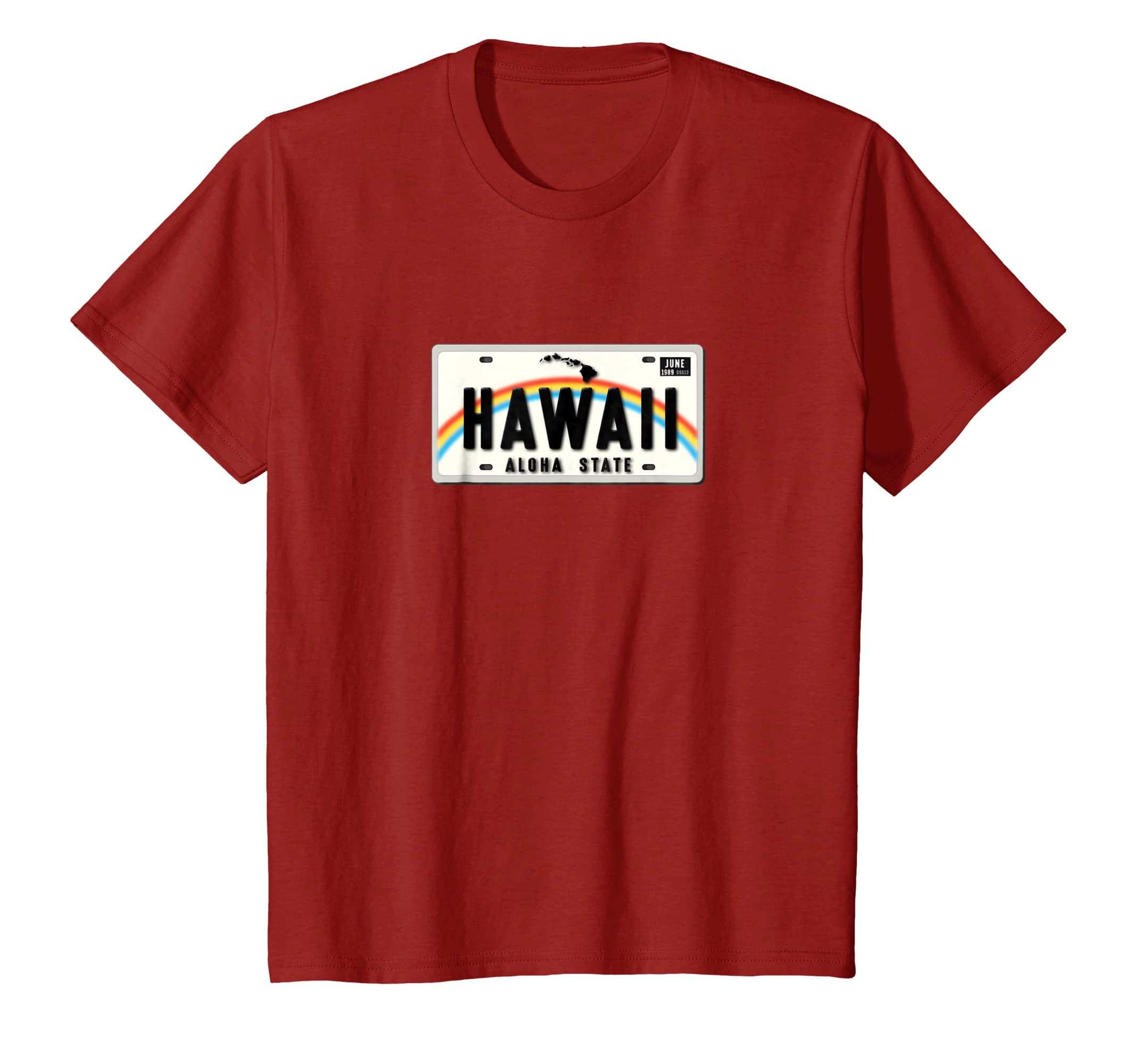 8ad2229993 Amazon.com: Aloha State Hawaii License Plate T-shirt: Clothing