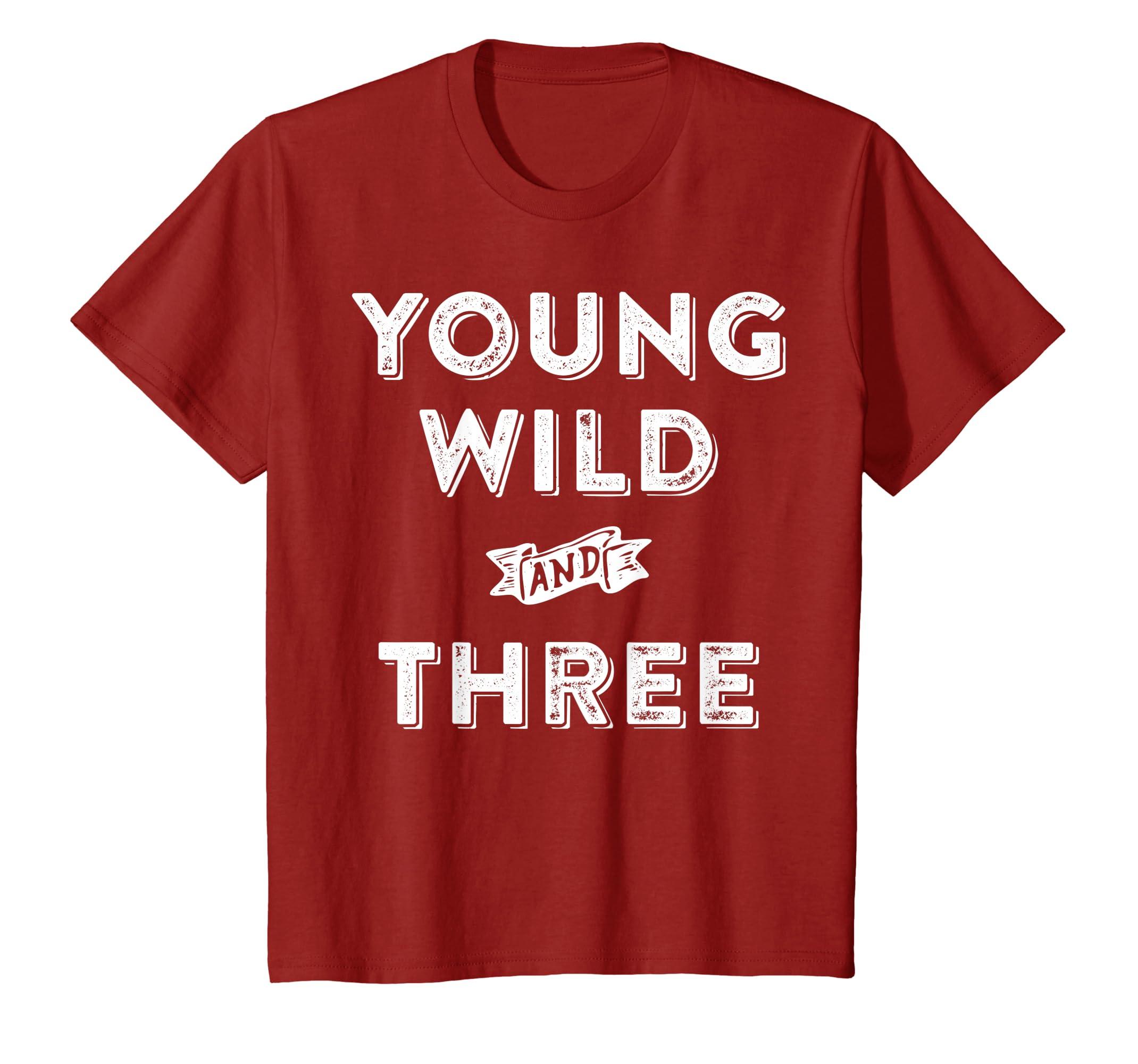 c580f5007 Amazon.com: Kids 3rd Birthday Shirt Boy - Young Wild And Three T-Shirt:  Clothing