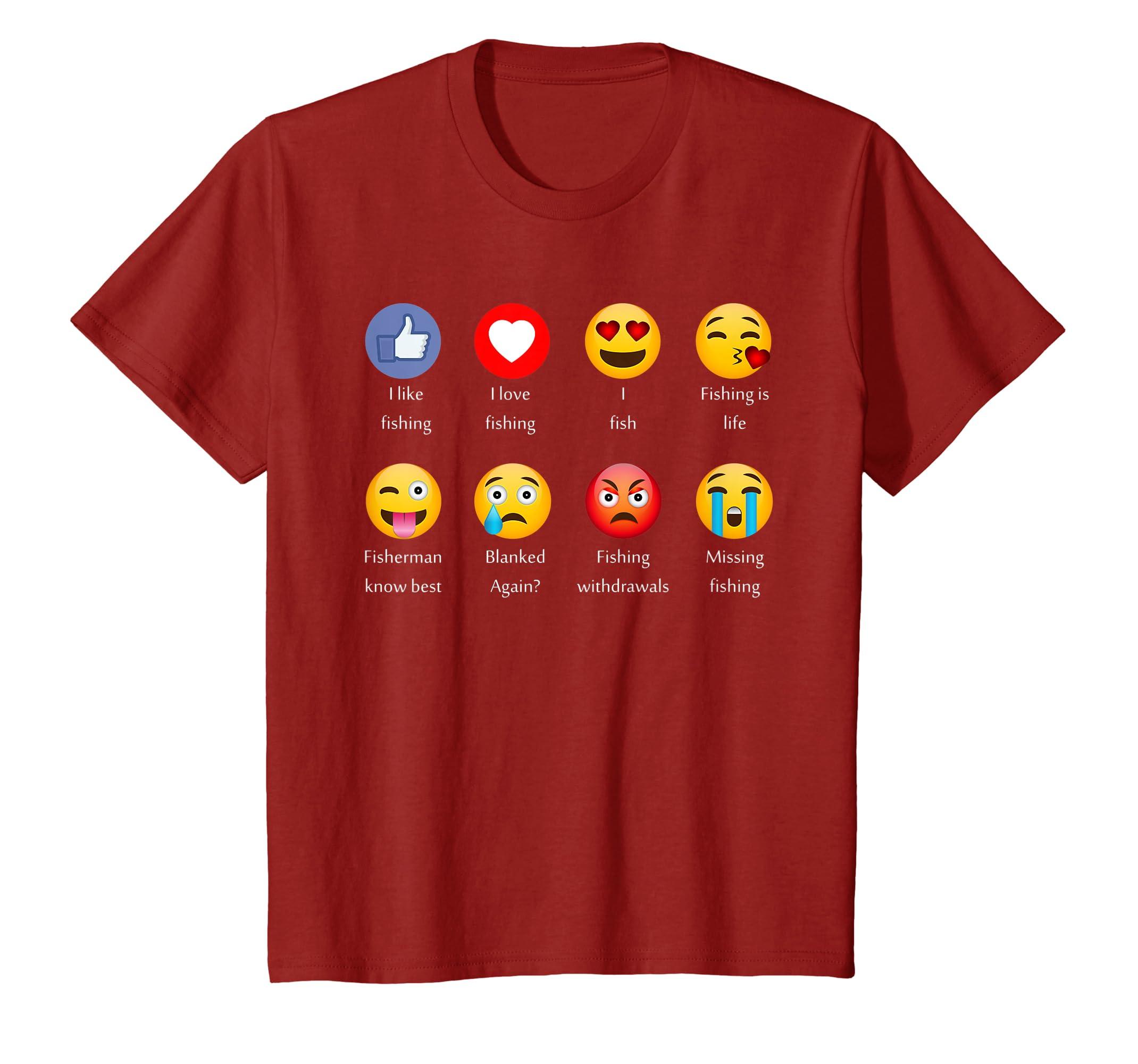 5b8768671 Amazon.com: I Like Love Fishing Funny Emoji Emoticons Graphic Tee Shirt:  Clothing